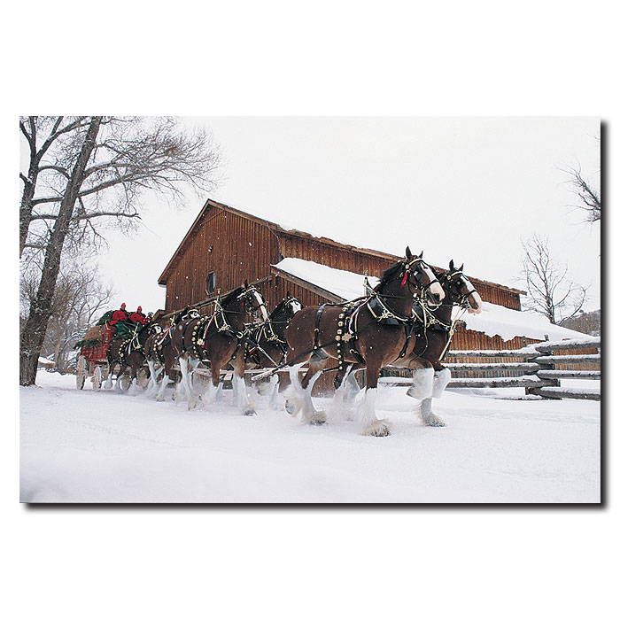 Budweiser Giclee 22x32 Canvas Art Clydesdales Snow Barn Ebay